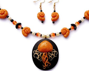 Jellyfish Large Necklace with Earrings Set, Orange and Black