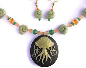 Jellyfish Large Necklace and Earrings Set, One of a Kind Polymer Clay Art Jewelry