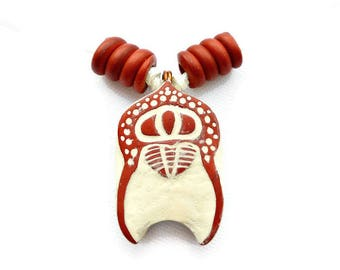 Trilobite Pendant Necklace, Red and Cream Polymer Clay, Arthropod and Biology Jewelry