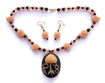 Jellyfish Statement Necklace and Earrings Set