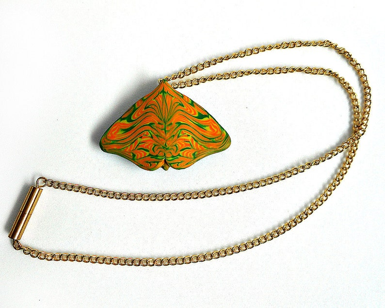 Butterfly Pendant Necklace One of a Kind Polymer clay Orange image 0