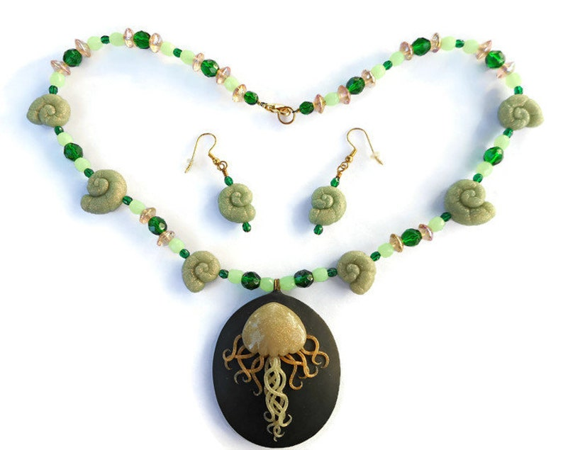 Jellyfish Necklace and Earrings Set Art Nouveau Statement image 0