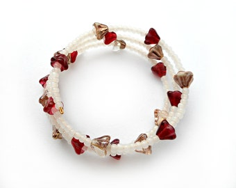Flower Bracelet, Medium Size Adjustable Memory Wire and Red, Pink, and White Glass Beads