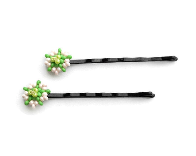 Flower Beaded Bobby Pins Floral Beadwork Hair Accessories image 0