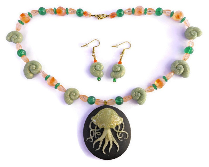 Jellyfish Large Necklace and Earrings Set One of a Kind image 0