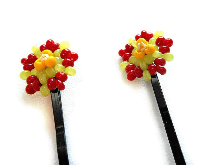 Red Flowers Beaded Hairpins Beadwork Hair Ornaments with image 1