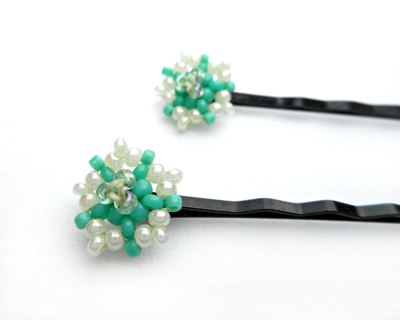 Beaded Flower Hairpins Pale and Turquoise Blue Hair Accessory image 0