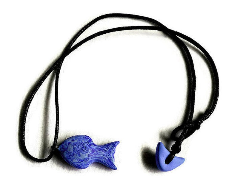 Cobalt Blue Fish Pendant Necklace Polymer Clay Jewelry for image 0
