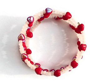 Red Hearts Bracelet, Medium Size Memory Wire with Glass Beads