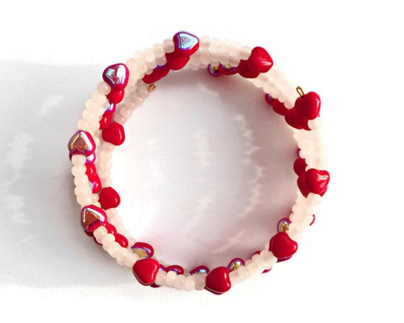 Red Hearts Bracelet Medium Size Memory Wire with Glass Beads image 0