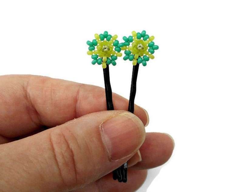 Blue and Green Flower Beaded Hairpins Bobby Pins with Glass image 0