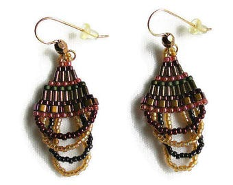 Beaded Dangle Curved Brick Stitch Earrings in Dramatic Fall Colors