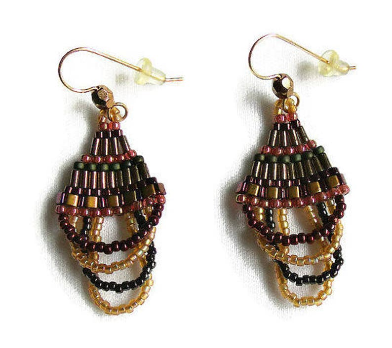 Beaded Dangle Curved Brick Stitch Earrings in Dramatic Fall image 0