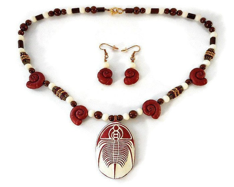 Large Trilobite Necklace and Earrings Set Hand Sculpted image 0