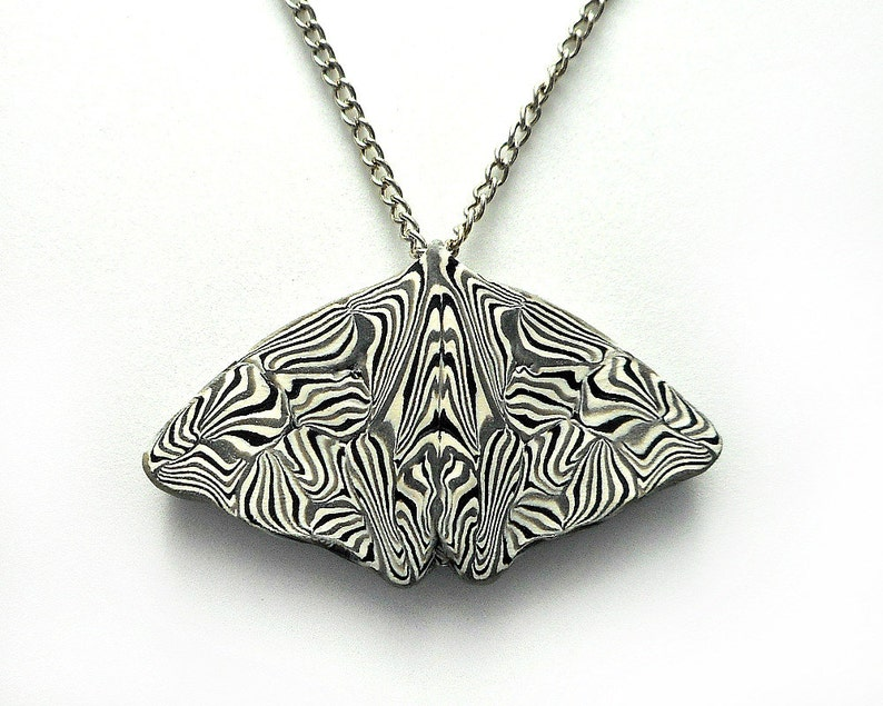 Butterfly Pendant Necklace Black and White Polymer Clay image 0