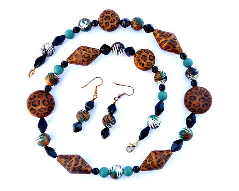 Leopard Spots Animal Print Necklace and Earrings Statement image 0