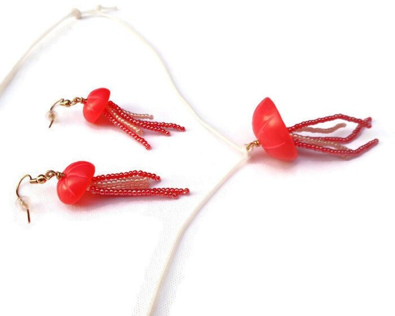 Jellyfish Necklace and Earrings Set Fluorescent Red Polymer image 0
