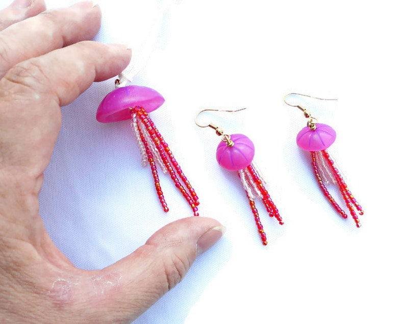 Jellyfish Necklace /& Earrings Set Hot Pink Polymer Clay and Glass Seed Beads