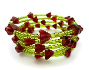 Flower Bracelet, Medium Size Adjustable Memory Wire with Glass Beads