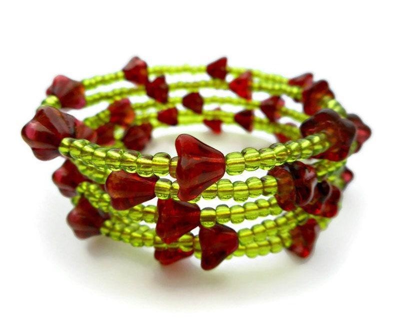 Flower Bracelet Medium Size Adjustable Memory Wire with Glass image 0