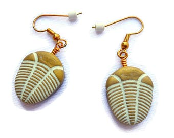 Trilobite Pendant Earrings, Polymer Clay Arthropod and Fossil Theme Jewelry