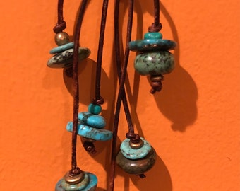 Linked Turquoise Cairns on Brass Bails