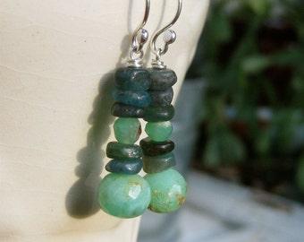 Kyanite, Chalcedony and Peruvian Opal Earrings