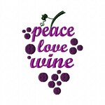 Peace Love Wine Embroidery Machine Design Patterns 2 Sizes Digital Download