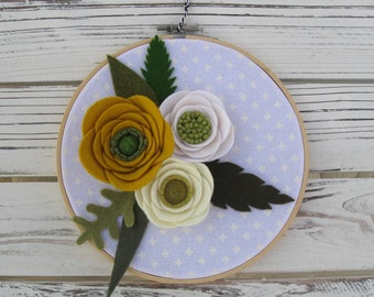 Wool felt floral wooden embroidery hoop fabric wreath