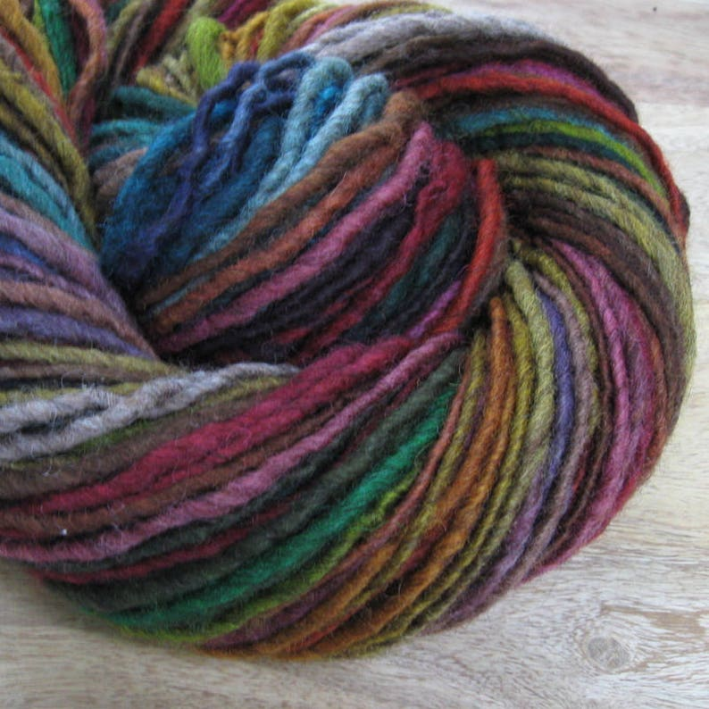 Dark Side  handspun self-striping/color-changing wool yarn image 1
