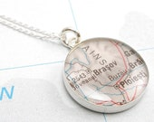 Custom Vintage Map Sterling Silver Necklace, Girlfriend Gift, Gift For Her, Gift For Coworker, Mothers Necklace, Mom Gift, Personalized