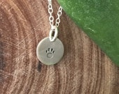 Tiny Paw Petite Sterling Silver Tag Necklace, Customized Necklace, Custom Personalized Disc Necklace, Best Friend Gift, Dog Mom, Pet Lover