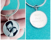 Sterling Silver Fathers Day Keychain Custom Photo, Christmas Gifts For Him, dad Christmas gift