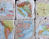 Anniversary Gifts for Men Vintage Map Coasters