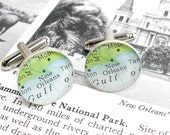 New Orleans Vintage Map Sterling Silver Round Cufflinks.  Gulf of Mexico