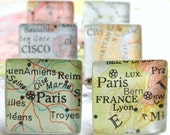 Vintage Map Sterling Silver Square Cufflinks. You Select the Journey.  Christmas Gift, Clothing Gift, Gifts For Men
