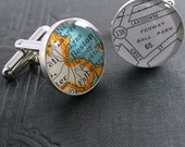 No. 01 Boston Ball Park Vintage Street Map Sterling Silver Round Cufflinks.