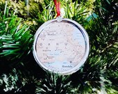 Genuine Vintage Map Christmas Ornaments