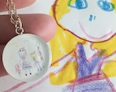 Personalized Child's Artwork Jewelry, Art Necklace, Your Child's Drawing On A Pendant, Gifts For Mom, grandparent gifts