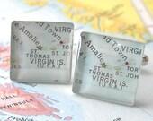 Destination Wedding Collection - St. Thomas Virgin Islands Vintage Map Cufflinks by DLK Designs