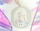 Sterling Silver Personalized Child's Artwork Jewelry, Art Necklace, Your Child's Drawing On A Pendant, Gifts For Mom, grandparent gifts
