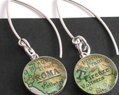 Sterling Silver A Trip to Italy.  Modern Vintage Map Dangle Earrings.  Roma and Firenze.  Made to Order.  Stocking Stuffers For Women