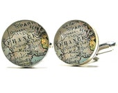 Paris France 1899 Antique Map Cufflinks, Gifts For Boyfriend