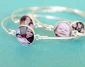 Mother's Day Gift for Nanny, Best Mom Ever Sterling Photo Bangle Bracelet, Christmas Gift Idea