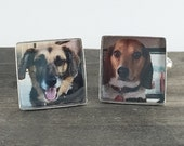 Sterling Silver Custom Pet Photo Jewelry Cufflinks. Customizable for You and Made to Order - Square, Gifts For Grandpa