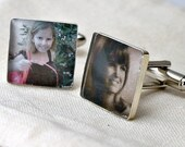 SALE - Sterling Silver Custom Photo Jewelry Loved Ones Cufflinks. Customizable for You and Made to Order - Square