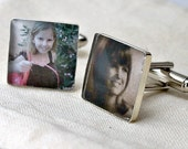 Custom Photo Jewelry Loved Ones Cufflinks. Customizable for You and Made to Order - Square