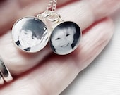 Personalized Grandparent, Photo Jewelry Petite Loved Ones Solid Sterling Silver Necklace, Mom from Daughter, Gifts For Her