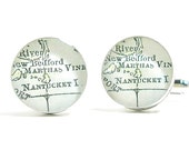 Nantucket 1899 Antique Map Cufflinks, Dapper Cuff Links, Book Jewelry