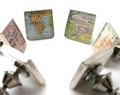 Sterling Silver Tie Pin or Lapel Pin Vintage Map, lapel pin personalized, lapel pin women, lapel brooch, lapel pins men